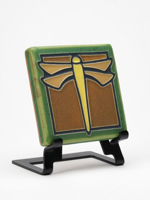 Ceramic green dragonfly art tile handmade by Motawi Tileworks.