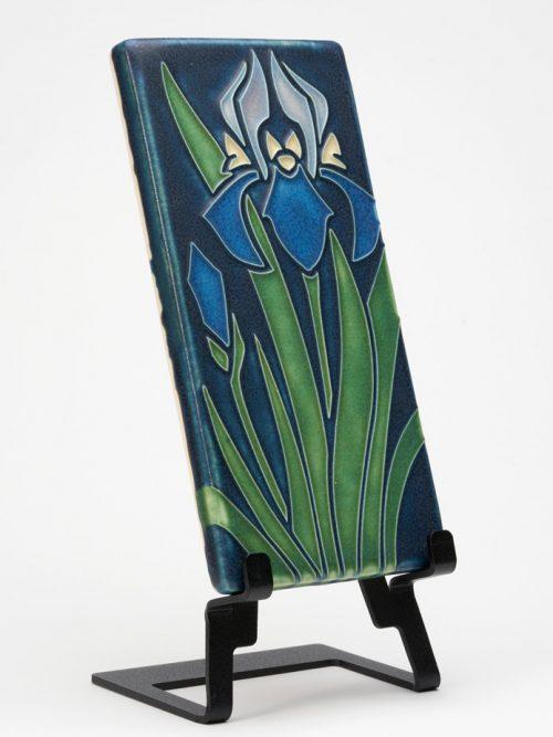 Ceramic iris art tile handmade by Motawi Tileworks.