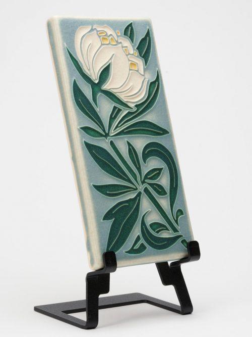 Ceramic peony art tile handmade by Motawi Tileworks.