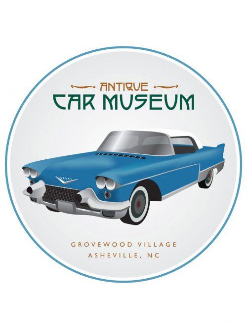 Estes-Winn Antique Car Museum sticker featuring a Cadillac Eldorado Brougham.