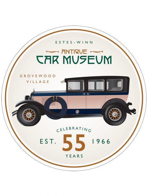 A sticker of a 1926 Cadillac Custom Touring Seven Passenger Sedan.