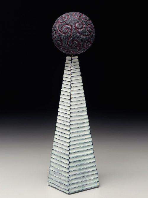 Sculptural wood column by Asheville artist Graeme Priddle.