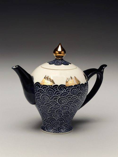 Handmade porcelain teapot with nautical surface designs by Asheville-based potter Anja Bartels.