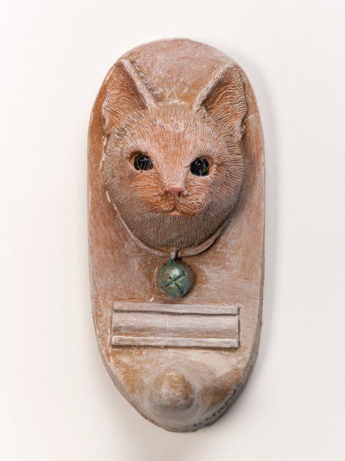 Handmade ceramic cat leash holder by North Carolina artist John Richards.