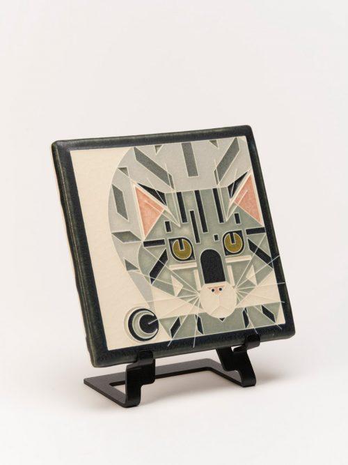 Ceramic cat tile handmade by Motawi Tileworks in Ann Arbor, MI.