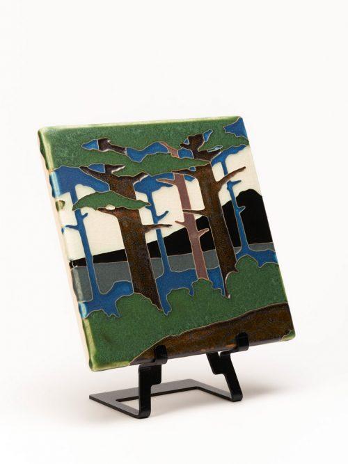 Pine landscape mountain tile by Motawi Tileworks.