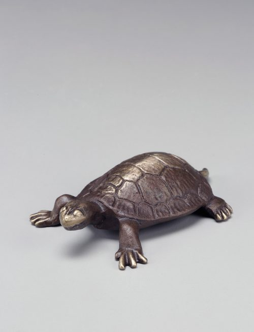 Sand-casted bronze turtle sculpture by artist Scott Nelles.