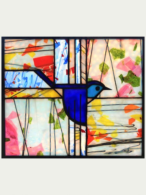 A stained glass window panel by Jacob Hinnenkamp featuring a Charley Harper bluebird design.