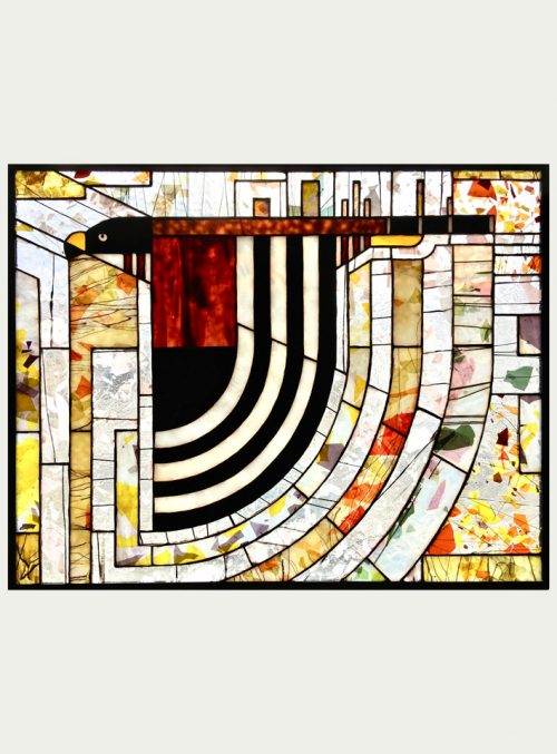 Stained glass window panel by Jacob Hinnenkamp featuring a hawk design.