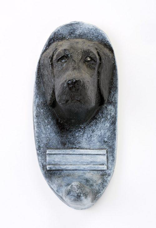 Black lab dog leash holder by John D. Richards.