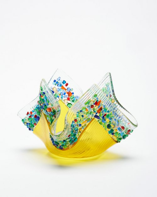 Yellow confetti glass votive handmade by Jerry and Kathy Galloy.