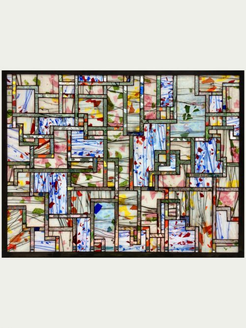 Stained glass window panel titled Fractured Pathways by Hinnenkamp Glass Crafters.