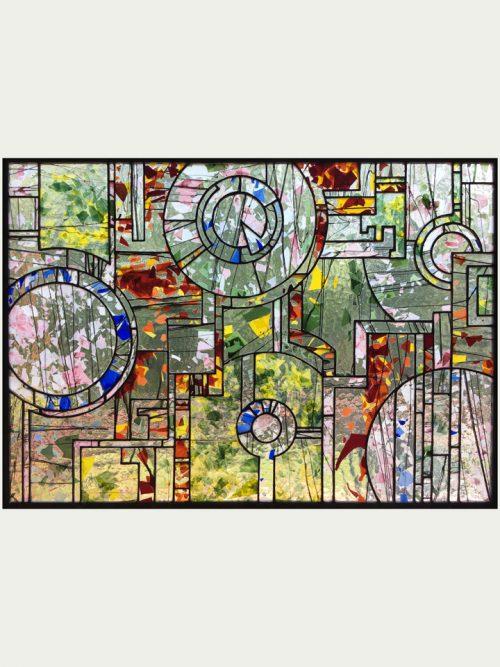 Hanging stained glass window panel handmade by Jacob Hinnenkamp of Hinnenkamp Glass Crafters.