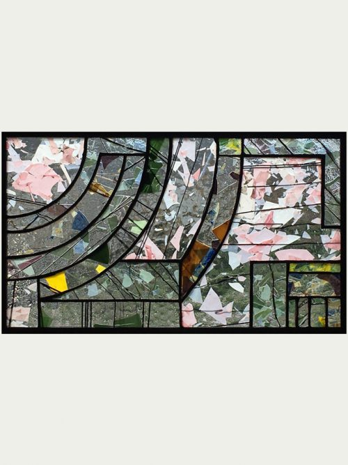 Hanging stained glass window panel handmade by Hinnenkamp Glass Crafters.
