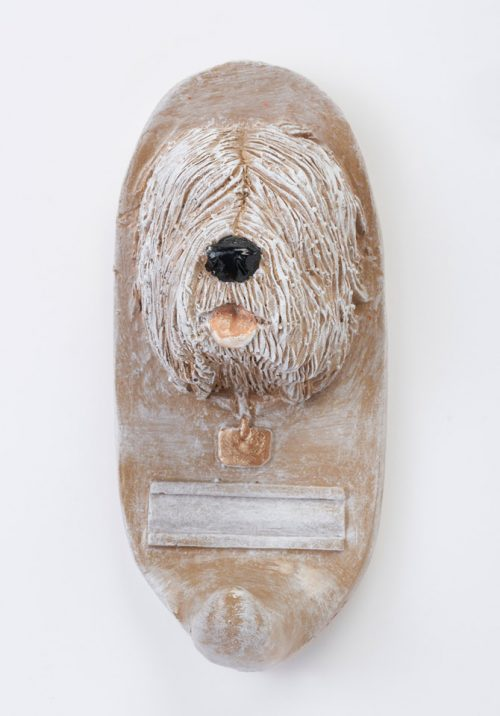 Ceramic sheep dog leash holder by North Carolina artist John D. Richards.
