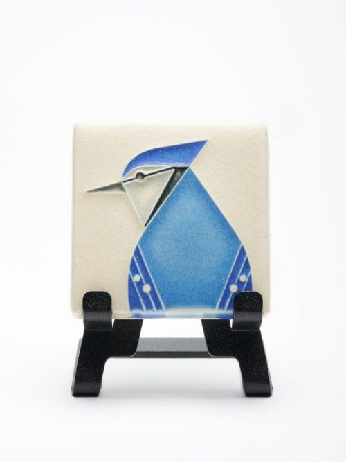 Ceramic blue jay art tile by Motawi Tileworks.