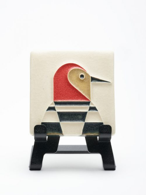 Handmade by Motawi Tileworks, these mini woodpecker art tiles are based on the work of celebrated wildlife artist Charley Harper.