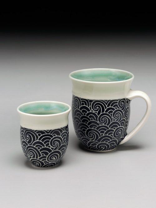 Handmade porcelain teacup by Asheville-based studio potter Anja Bartels.