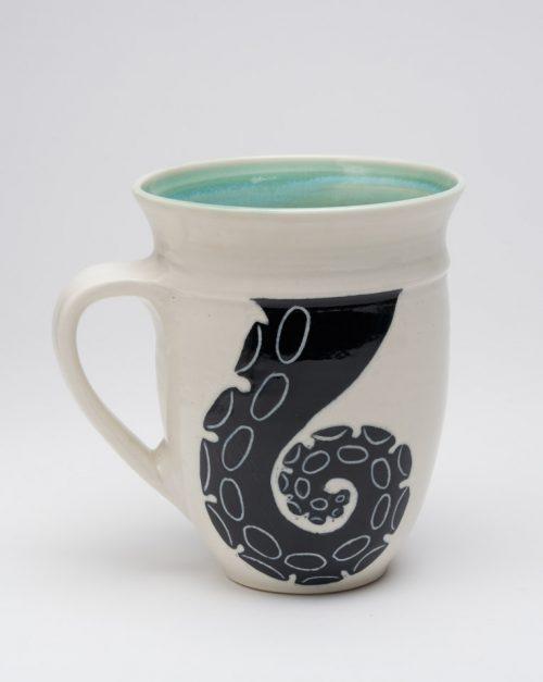 Porcelain tentacle mug by Asheville-based studio potter Anja Bartels.