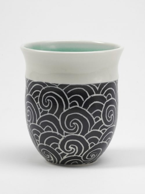 Stormy seas teacup by Asheville potter Anja Bartels.