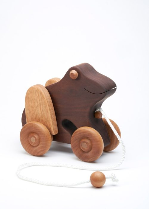 Wooden frog pull toy by East Laurel Woodcrafts.