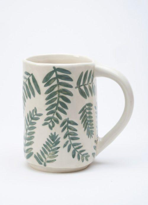 Ceramic fern mug by Asheville studio potter Laura Cooke.